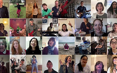 The stars of the optometry sector's collective musical venture 'We are here'